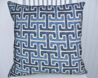 Blue Geometric Pillow Cover--Decorative Pillow, 18x18 or 20x0 or 22x22 Two Blues  Accent Pillow Lumbar Pillow