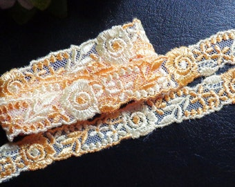 3/4 inch wide orange mesh embroidery lace trim selling by the yard