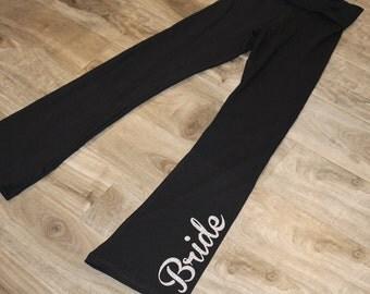 BRIDE lounge pant, bride yoga pant - bridesmaid lounge pant, maid of honor lounge pant - GLITTER on black