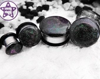 "Interstellar Overdrive Galaxy Plug / Gauge Green Purple Faux Dichroic Dichro Colour Shifting 4g 2g 0g 00g 7/16"" / 5mm 6mm 8mm 10mm 11mm"