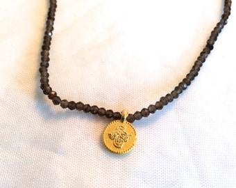 tiny smokey topaz bead necklace with  vermeil disc