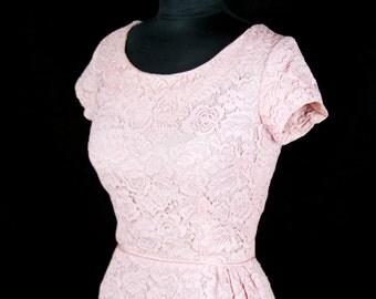 1950s Dress // Pink Lace Wiggle Dress