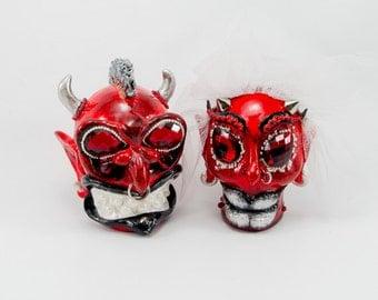 Skulls Red Devil weddings cake topper handmade