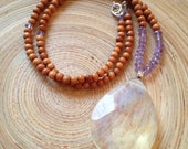 Modern mala 108 bead sandalwood necklace with pineapple quartz and amethyst  / yoga necklace 19""