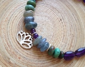 Silver lotus and amethyst bracelet yoga jewelry purple amethyst kyanite turquoise and sterling silver lotus charm