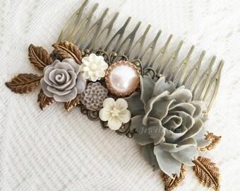 Gray Bridal Comb Flower Hair Slide Grey Wedding Hair Comb for Bride Rustic Modern Wedding Hair Adornment Elegant Hair Pin