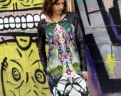 Plus Size Floral Dress, Printed Winter Dress, Jersey and Leather Dress, Psychedelic Dress, Long Sleeves Dress, Urban Dress, Slimming Dress