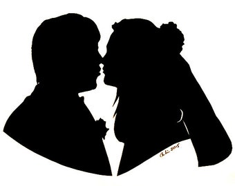 "Custom Wedding Silhouette 8""x10"""