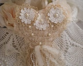 SALE...Shabby Chic Shades Of Ivory Hanging Heart OOAK By SincerelyRaven On Etsy