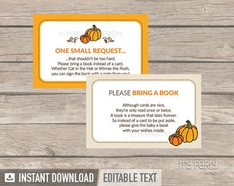 Bring a Book Card - Little Pumpkin Baby Shower - Fall - Neutral - Bring a Book Insert - INSTANT DOWNLOAD - Printable PDF with Editable Text