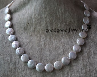 round Coin Pearl necklace,18 Inches 12-12.5 mm ivory Coin Pearl Necklace,Wedding Pearl Necklaces,bridesmaid necklace, white pearl necklace
