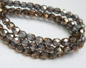 Fire polished Czech glass Light Sapphire Blue Bronze Metallic Luster faceted round 6mm half strand NFP6-96