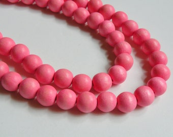 Cotton Candy Pink wood beads round 12mm full strand eco-friendly Cheesewood 9494NB