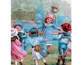 Ring Around the Rosy digital image of an antique litho children's book illustration, greeting cards, digital scrapbook, web design