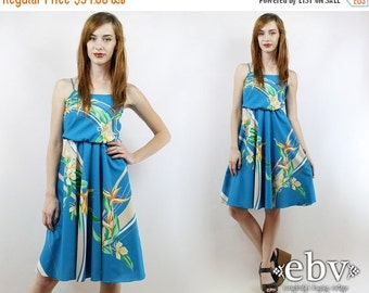 Vintage 70s Hawaiian Floral Party Dress S M Floral Party Dress Hawaiian Sundress Summer Dress Floral Mini Dress Luau Dress Hawaiian Dress