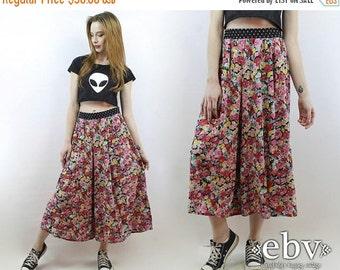 Festival Pants 90s Pants Floral Pants Plus Size Pants Plus Size Vintage 90s High Waisted Floral Cropped Wide Leg Pants 1X 2X Pants