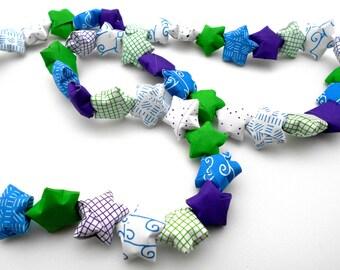 Paper lucky Star Garland origami decor green blue purple Handmade