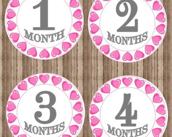 Printable Monthly Baby Iron On Months 1-12, Monthly Baby Stickers, Valentine, Onesie Stickers, Baby Milestone Iron On,