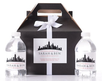 Chicago Wedding - 25 City Skyline Wedding Favor Box / Wedding Welcome Boxes with 50 matching Water Bottle Labels