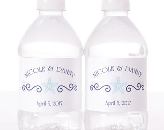 Beach Wedding Water Labels - 30 Wedding Water Bottle Labels - Wedding Bottled Water Labels - Personalized Water Bottle Stickers