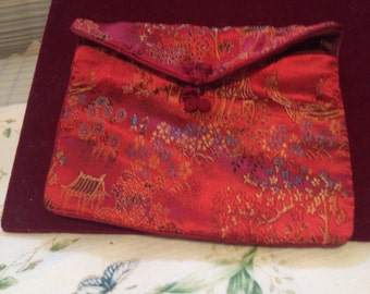 Brocade Pouch with Zipper Closure for Travel with Jewelry or Longier