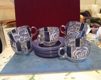 REDUCED  6 French Cup and Saucers near Cobalt