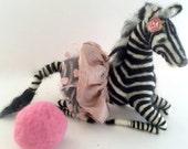 Reserved for Customer - Art doll needle felt animal zebra ballerina pink ball soft sculpture home decor