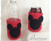 Mickey Mouse or Minnie Mouse Cup Cozy.  Hand crocheted.  Water bottle cozy, soda can cozy, drink cozy.