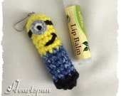 Minion Lip Balm Holder or Christmas Ornament from Despicable Me.  Hand crocheted. Fits chapstick or similar size tube lip balm. Great gift!!