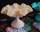 Fenton Pink Milk Glass - Fenton Pink Compote - Fenton Pink Hobnail Milk Glass Compote - Milk Glass Compote - Wedding Milk Glass