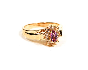 Amethyst and CZ Ring, Gold Plated, Sterling Silver Ring Size 9, February Birthstone