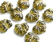 10pc Olive green leaf beads, Maple glass leaves, Olivine czech beads, Golden inlays - 11x13mm - 0466