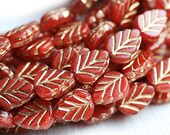 Leaf beads - Red beads, golden inlays, Czech glass pressed leaves - 11x8mm - 10Pc - 1510