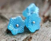 ON SALE Aqua Blue Czech glass flower beads, 13mm Bell, large flowers, Matte finish - 6Pc - 1166