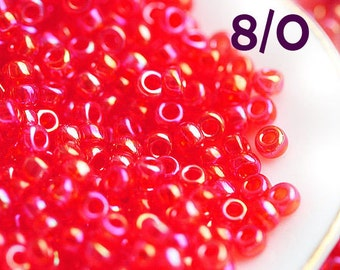 Red TOHO seed beads, size 8/0, Transparent Rainbow Lt. Ruby, N 165, Red rocailles - 10g - S657