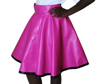 pink circle skirt pvc faux leather skater skirt Rockabilly Skirt, 50's skirt, Full Circle Skirt, Plus Size Skirt, High Waisted Skirt, pinup