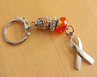 Orange Awareness Key Chain - DVT, Kidney cancer, Leukemia, Multiple Sclerosis, RSD, Skin Cancer, Nerve Pain and others