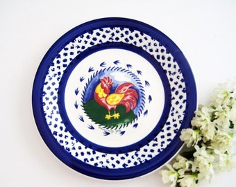 Vintage Italian La Primula S.L.R, Rooster Salad or Wall Plate, Artist Signed, Blue Yellow Red Green White