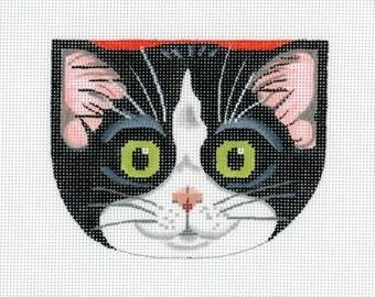 Needlepoint Handpainted Cat Canvas - Tuxedo Kitty Face Purse