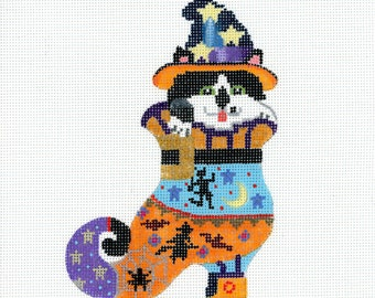 Hand Painted Needlepoint Halloween Canvas - Kitty in a Shoe - 18 mesh