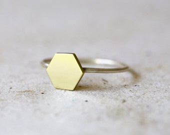 Brass and silver hexagon ring - Sterling silver stacking ring - Geometric ring - minimal ring - Simple ring - Everyday ring