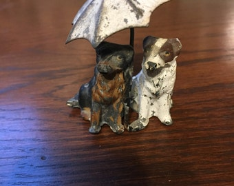 Vintage umbrella dogs, tin