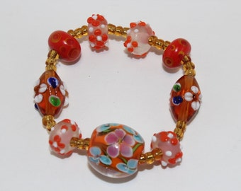 Orange lampwork elastic bracelet