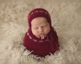 READY TO SHIP Newborn Swaddle Sack, Photo Prop, Red & Cream, Christmas Prop