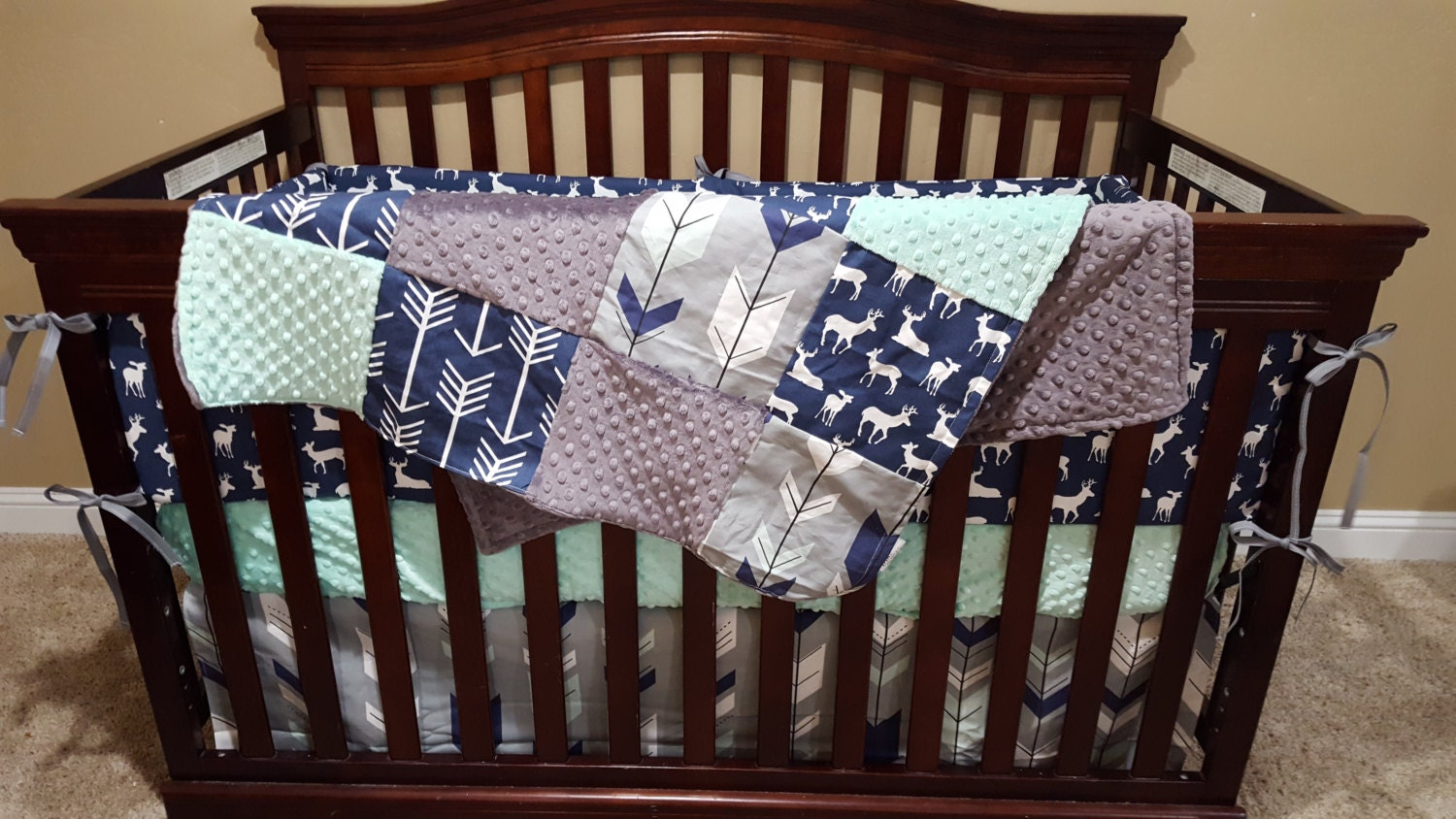 Baby Boy Crib Bedding Navy Deer Fletching Arrow Navy