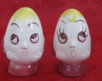 Vintage Egg Head Salt and Pepper Shakers