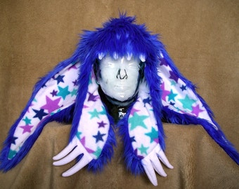 Big furry monster hat - Blue bunny with stars