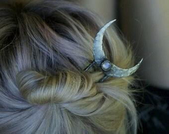 Rainbow Moonstone Crescent Hair Stick