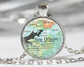 New Orleans Necklace  Map Jewelry Genealogy Necklace Map of New Orleans NOLA Jewelry