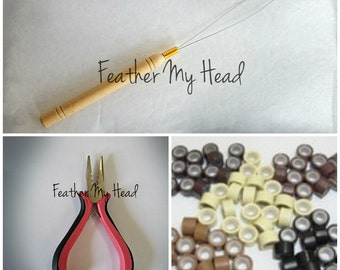 Feather Hair Extension Tool Kit: Threading Tool,  Tri Clamp Pliers, 25 Bead Mix